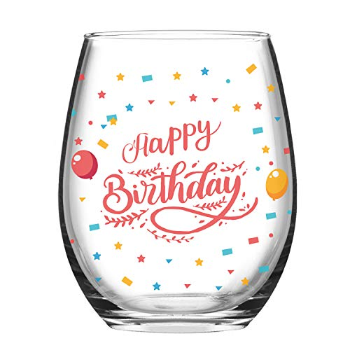 (Birthday Wine Glass - Birthday Gifts - Happy Birthday Novelty Wine Glass - 15 Oz Funny Stemless Wine Glass Novelty Birthday Gifts for Friends Men Man Women Woman MIL Grandma BFF)