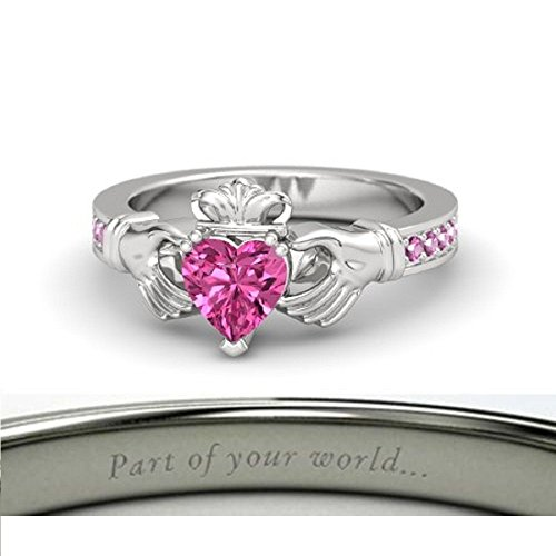 Beautiful Crown Engagement Ring-14k White Gold Plated Created Solitaire Heart Shape Green Pink Sapphire LOVE Promise Claddagh Ring Women - Solitaire Green Sapphire