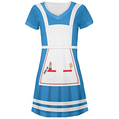 Alice In Wonderland Jr Costumes (Halloween Alice in Wonderland Classic Costume All Over Juniors Cover-Up Beach Dress - Medium)