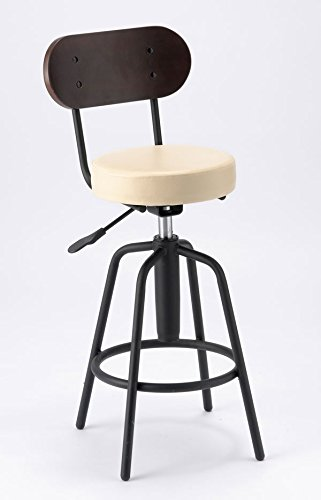 バーチェア TAM-3 (アイボリー) カウンターチェア バーチェア 背もたれ付 バースツール 飲食店 台所椅子 高めのイス B074K4K9Q9 アイボリー アイボリー