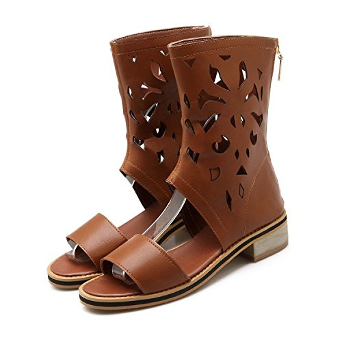 Cool Aisun Zipper Brown Out Back Stylish Gladiator Hollow Sandals Womens rYwTzEqr