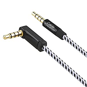 CableCreation 3 Feet 3.5mm TRRS Auxiliary Audio cable 90 Degree Right Angle 4-Conductor Auxiliary Stereo Cable (Microphone Compatible), Black and White