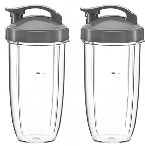 Replacement Cup for Nutribullet Mixer | 24oz with Flip Top Lid | 2 Cups + 2 Lids