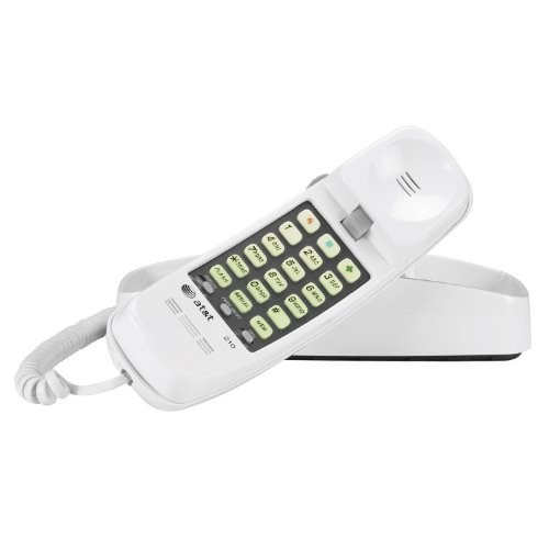 (Advanced American Telephones 210WH AT&T 210M Basic Trimline Corded Phone, No AC Power Required, Wall-Mountable, White)