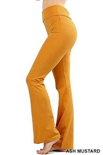 Zenana Premium Cotton FOLD Over Yoga Flare Pants,Ash Mustard,X-Large