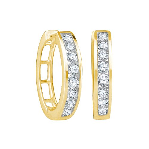 1/2 Total Carat Weight ROUND DIAMOND LADIES FASHION HOOPS EARRINGS by Jawa Fashion