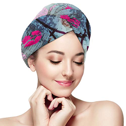 Lips Love Launches Eiffel Tower in Paris Microfiber Absorbent Dry Hair Cap Shower Hat Hair Towel Wrap Turban Fast Head Towel with Buttons for Girl Quick Dry Magic Hats Bed Head Eiffel Tower