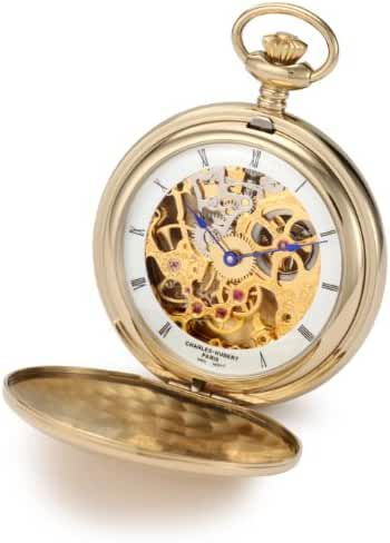 Charles-Hubert, Paris 3904-G Premium Collection Gold-Plated Stainless Steel Polished Finish Double Hunter Case Mechanical Pocket Watch