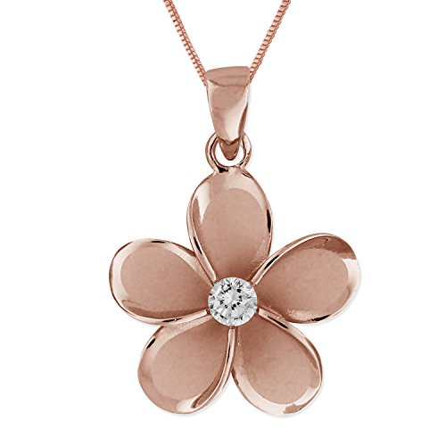 14kt Rose Gold Plated Sterling Silver 19mm Plumeria Pendant Necklace, 16 2 Extender