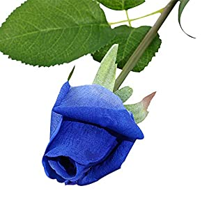 IPOPU Real Like Artificial Silk Fake Rose Buds, 10pcs Real Touch Latex Moisturizing Artificial Flowers for Wedding Bouquet House Garden Home Decoration Gift for Wife Mom Friends (Blue) 75