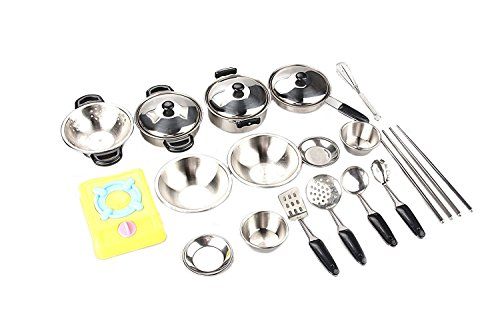 Miniature Toy 17-Piece Stainless Steel Pots and Pans Set , MAGIKON Pretend Play Kitchen Cooking Utensils Toy