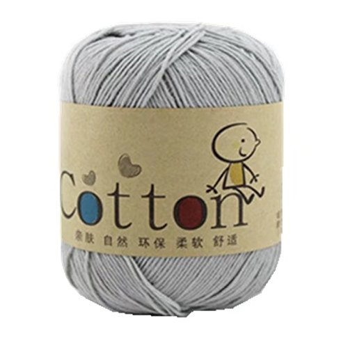 Celine lin One Skein Super Soft Natural Cotton Baby Knitting Yarn ,Light grey (Yarn Cotton Sock)
