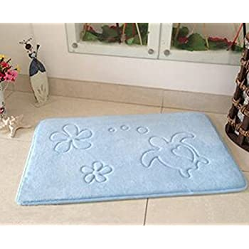 yzakka soft coral microfiber mildew resistant memory foam bath mat non slip absorbent bathroom mat rugs for kids washable and quick drying