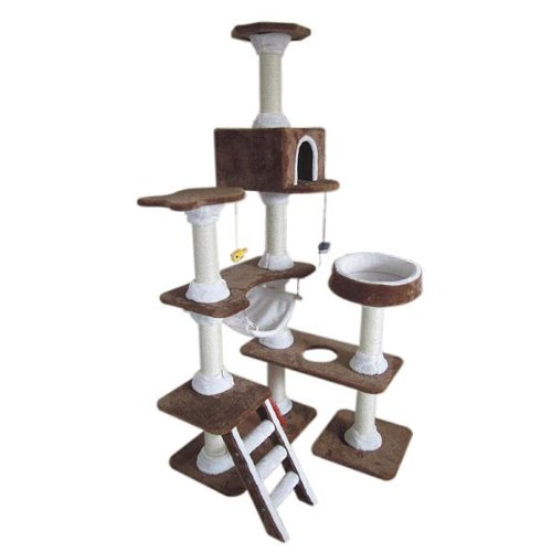 Catland Cat Tree w/Hammock, Pedestal, Hiding Box, Scratching Posts and Hanging Toy Fish, QQ80048, My Pet Supplies