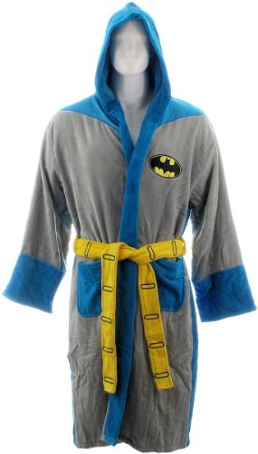 [Batman Retro Mens Hooded Costume Bathrobe] (Dark Shadows Halloween Costumes)