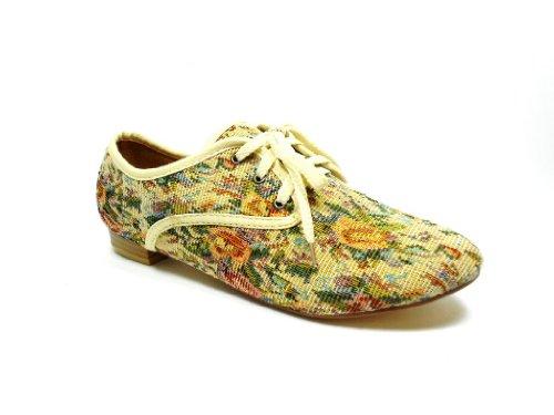 New Ladies Beige Floral Fabric Lace up Oxfords Vintage Design