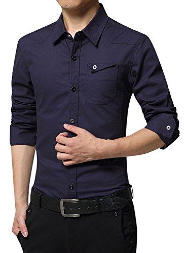 意志に反する闇有罪(アザブロ) AZBRO メンズ 素晴らしい 純色 パッチポケット 長袖 ボタンアップ シャツ