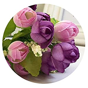 Zalin Artificial Silk Rose Flowers Arrangement for Weeding Leaf Home Decor Bridal Bouquet Fake Flower 18FEB2 51