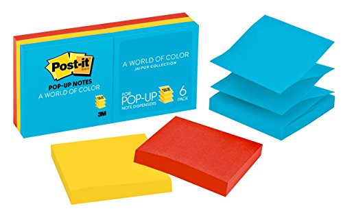 Post-it Pop-up Notes, 3 in x 3 in, Jaipur Collection, 12 Pads/Pack (R330-12AU) Empire Art Collection