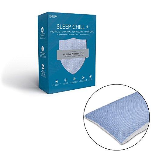 Leggett & Platt Sleep Chill + Crystal Gel Pillow Protector with Cooling Fibers and Blue 3-D Fabric, King / California King