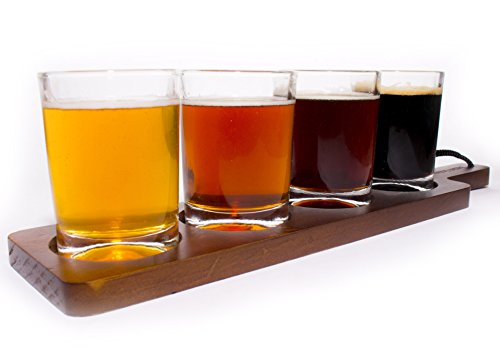 Beer Tasting Flight Paddle - For Beer Lovers, Homebrewers, Professional Bars, Brewpubs and Breweries - Includes Paddle and Four 6 Ounce Sample Glasses, (Beer Tasting Flight Set)