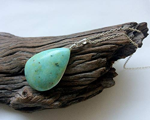 (Opal pendant, blue Peruvian opal, teardrop shape, blue green natural stone, Sky blue Opal, Opal silver jewelry, Natural gemstone, spiritual)