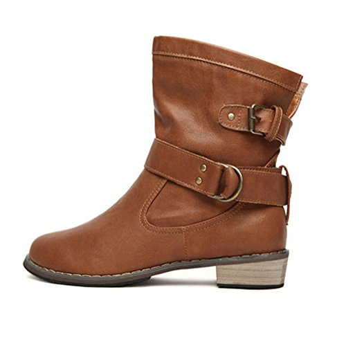 Freashine Women's Buckle Vintage Mid Calf Boots Cowboy Flat Shoes Brown US (Vintage Flat Boots)