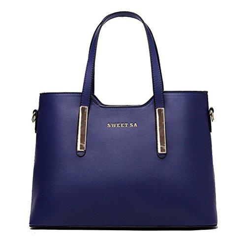 thboxes femmes en cuir véritable épaule sacs Top-Handle Sac fourre-tout Sac à main Sac Bleu - noir foncé