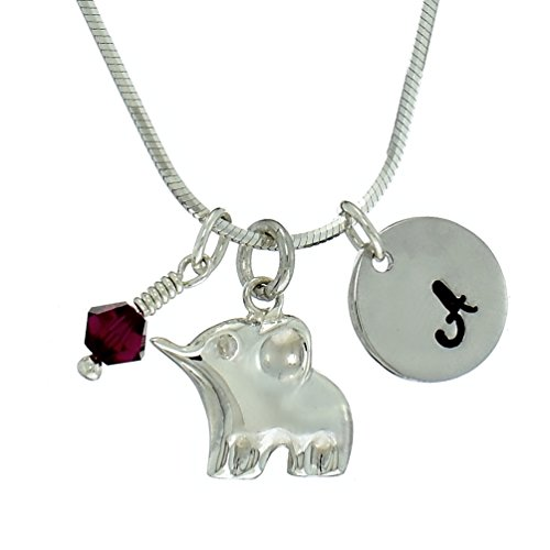 Personalized 925 Sterling Silver Elephant Baby Pendant Custom Hand Stamped Initial Letter Tag Crystal Birthstone Charm Chain Customizable Necklace ()