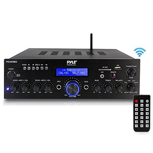 Pyle PDA65BU Amplifier Receiver Stereo, Bluetooth, FM Radio, USB Flash Reader, Aux Input LCD Display, 200 Watt with Dual LU47PB Indoor/Outdoor Speakers Bundle with Enrock 50ft 16g Speaker Wire by EnrockAudioBundle (Image #1)
