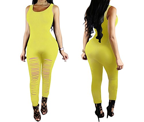 One Spaghetti Strap Playsuit Style3 Women's yellow Xuan2Xuan3 Jumpsuits Piece Tank Rompers HURw5qI