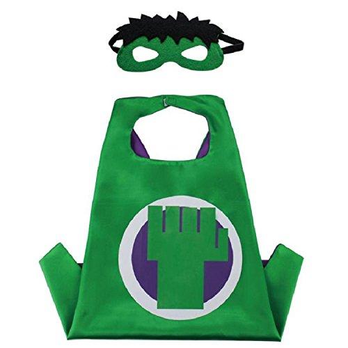 Superhero CAPE & MASK SET Kids Childrens Halloween Costume Hulk ()