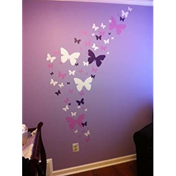 Create A Mural : Butterfly Wall Decals  Lavender, Lilac U0026 White Beautiful Design Ideas
