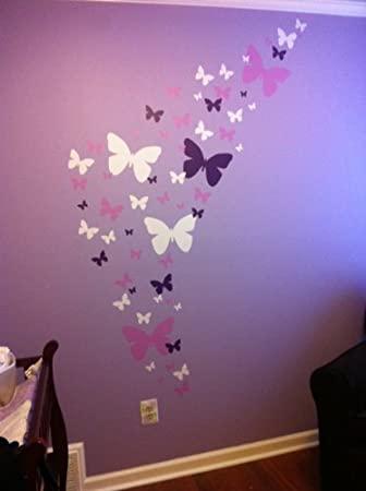 Create A Mural : Butterfly Wall Decals  Lavender, Lilac U0026 White Beautiful