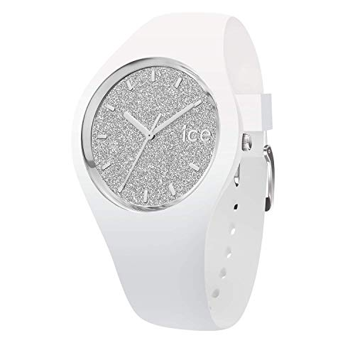 Ice-Watch - ICE Glitter White Silver - Women's Wristwatch with Silicon Strap - 001344 (Small)
