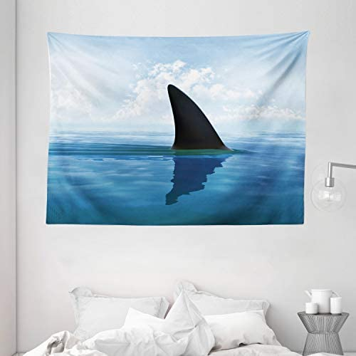 Ambesonne Shark Tapestry, Shark Fish Fin Over The Sea Surface Danger Caution Themed Picture, Wide Wall Hanging for Bedroom Living Room Dorm, 80 X 60 , Blue