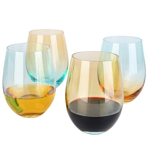 DESIGN•MASTER-Colorful Stemless Wine Glasses, 2020 Fashion Trends, Lead-free Drinking Glasses, Ideal for Red and White Wine, Cocktail, Water and Party Gifts. 18 OZ, Set of 4 (Light yellow & Blue)