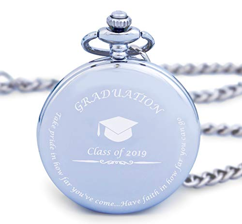 Unique Gift Graduation - Graduation Gifts for Him - Pocket Watch - Engraved 'Class of 2019' – Perfect College / High School Graduation Gift or Present for Son | Him in 2019