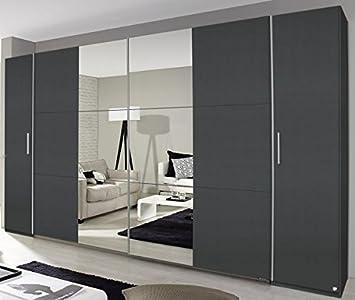 Dreh-/Schwebetürenschrank grau metallic 4-trg B 355 cm Schlafzimmer ...