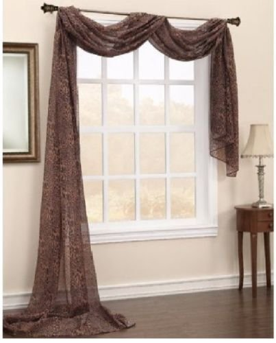- Gorgeous Home 1 PC PRINTED LEOPARD BROWN SCARF VALANCE SOFT SHEER VOILE WINDOW PANEL CURTAIN 216