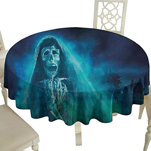 round outdoor round tablecloth with 50 Inch Halloween,Gothic Dark Backdrop with a Dead Ghost Skull Mystical Haunted Horror Themed Digital Art,Blue Suitable for Party,outdoors,Farmhouse,coffee shop,res