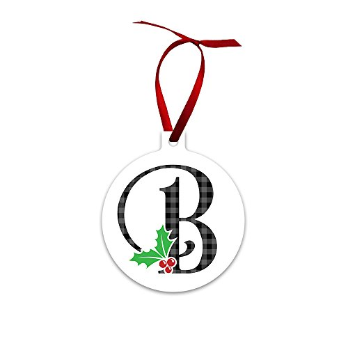 Mystic Sloth Monogram Initial Double Sided Holly Berry Ornaments (B) (Alphabet Letter Christmas Ornaments)
