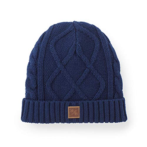 Hope & Henry Boys Navy Cuffed Cable Beanie