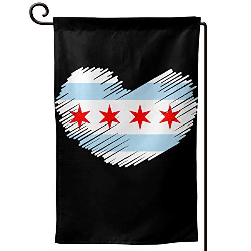 Chicago Flag IN HEART SHAPE Fashion Outdoor/Indoor Decorative Flag Festival Garden Flag 12.5