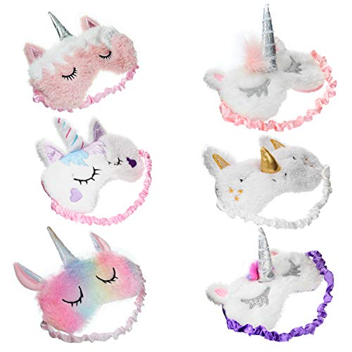 6-pack kids sleep mask for sleeping girls women eye mask covers unicorn game supplies-weighted-cute-eyemasks