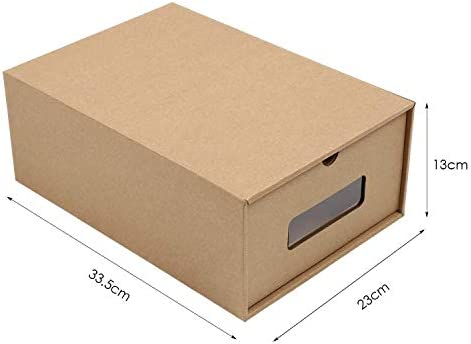 Durable Breathable Designed to Womans Size 11 13 x9x5 inch Prasacco Shoes Box Mens Size 10.5 MAX 10 Pack,Rugged Perspective DIY Visible Cardboard Shoe Storage Boxes