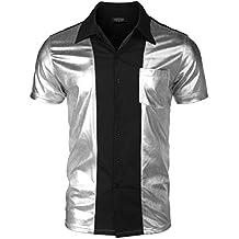 COOFANDY Men's Party Shirt Shiny Metallic Disco Nightclub Style Short Sleeves Button Down Bowling Shirts