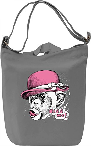 Kiss Me Moneky Borsa Giornaliera Canvas Canvas Day Bag| 100% Premium Cotton Canvas| DTG Printing|