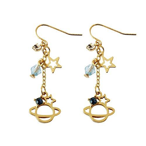 CHUYUN Japanese Dream Planet Series Star Diamond Geometric Long Dangle Earrings Female Gold Planet Moon Earrings For Women Girls