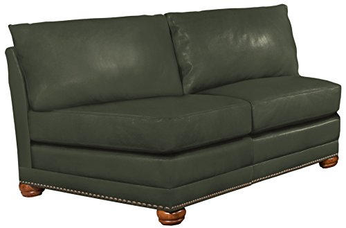Omnia Leather Dominion Armless 2 Cushion Loveseat in Leather, with Nail Head, Navajo Hunter